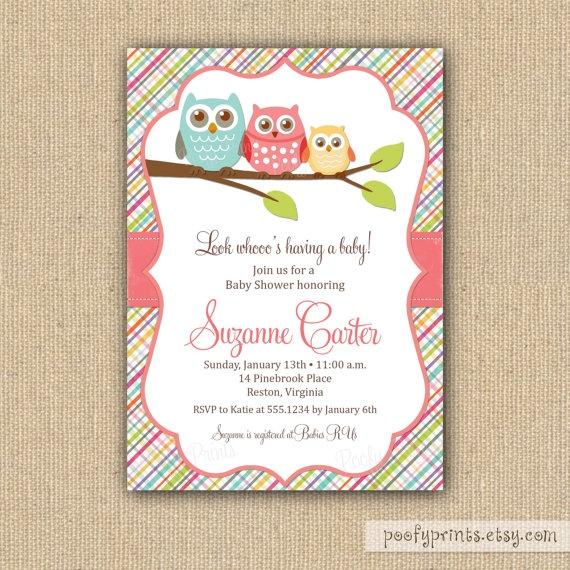 Owl Baby Shower Invitations for Baby Girl