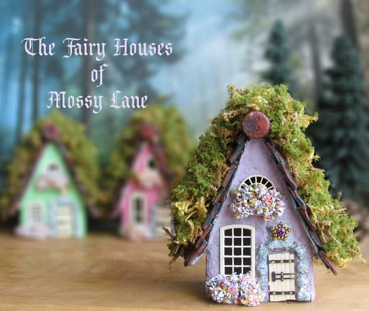 The Fairy Houses of Mossy Lane - Handcrafted Chalet Style Cottage in Lavender Purple w/ Moss Covered Roof, Flower Boxes and Wooden Door by bewilderandpine on Etsy https://www.etsy.com/listing/189150872/the-fairy-houses-of-mossy-lane