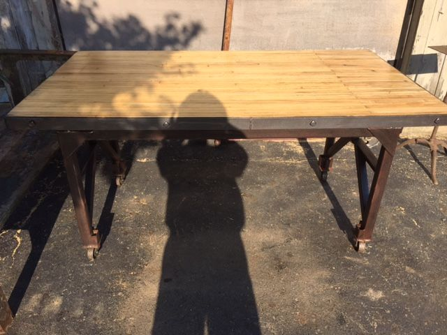 Vintage Industrial Table. This Is A Newly Constructed Table Made From  Vintage, Salvaged Pieces