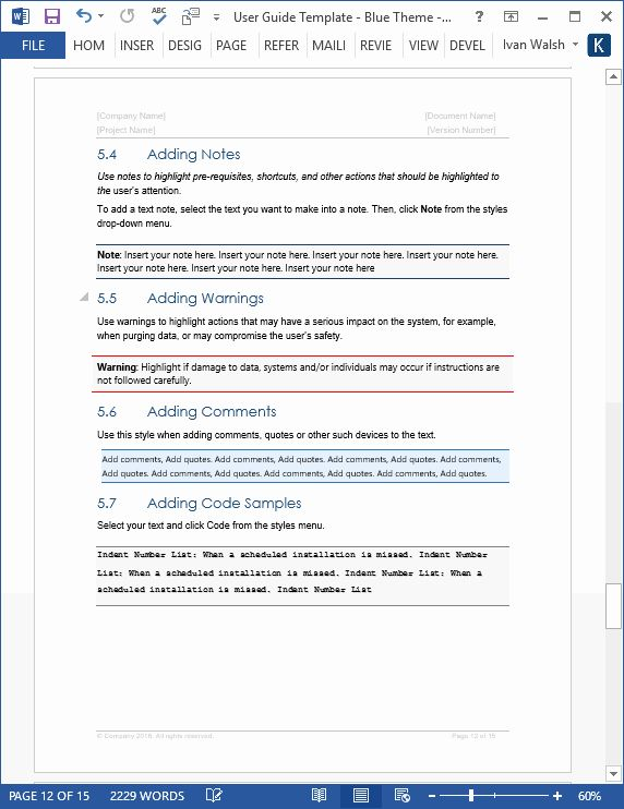 User Guide Template Word In 2020 Word Template Templates