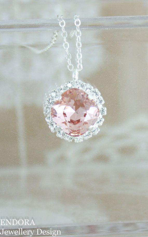 Blush necklace,crystal necklace,Swarovski necklace,blush bridal necklace,blush bridesmaid necklace,blush wedding jewelry,blush,Swarovski