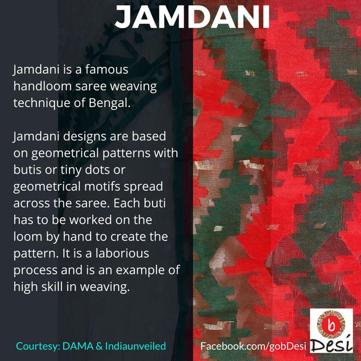 Jamdani, a famous handloom saree weaving technique from Bengal (India & Bangladesh)