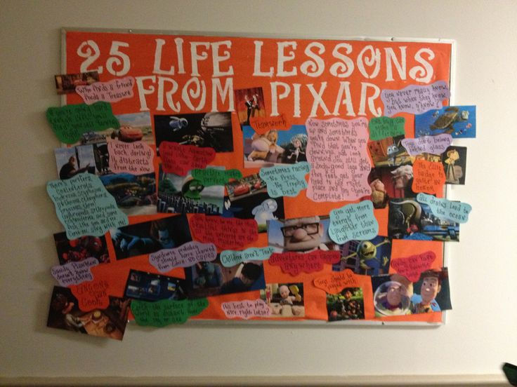 Resident assistant bulletin board on life lessons according to Pixar. Bethany college, West Virginia. Via Amber Lancaster Junior RA 2013