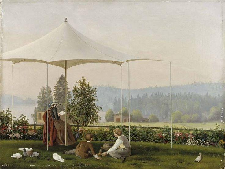 """""""In the Garden of Haminalahti"""" - """"Haminalahden puutarhassa"""" 1856-57 Ferdinand von Wright (1822-1906) - Ateneumin taidemuseo"""
