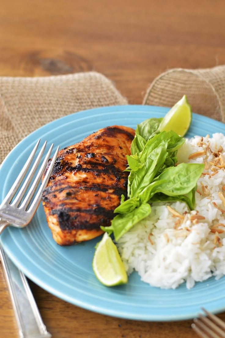 Grilled Thai Chicken served with Coconut Jasmine Rice is an easy, healthy and exotic dinner for four #summersoiree #glutenfree