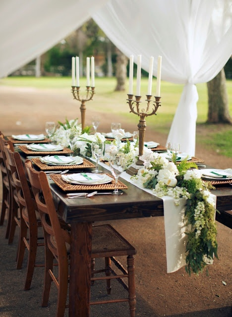 Rustic meets vintage elegance for this tented reception. #farm table #garland #gold: White Flowers, Idea, Tables Sets, Tables Runners, Wooden Tables, Head Tables, Farms Tables, Tables Garlands, Rustic Wedding