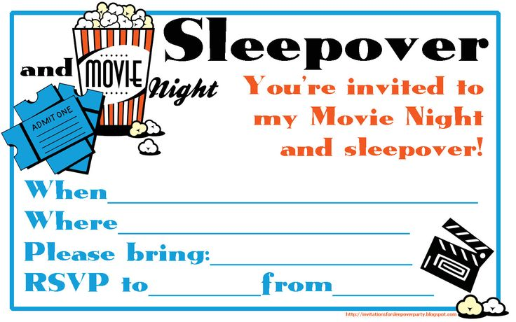 Fill the blanks on this movie night and sleepover for Film premiere invitation template
