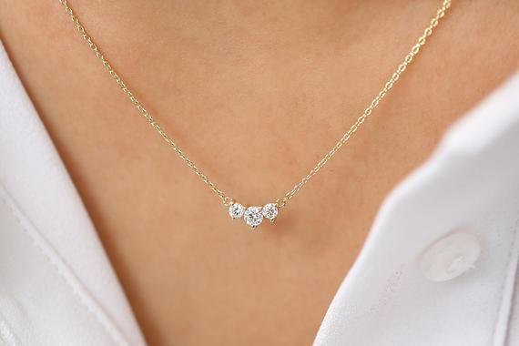 Classic Trio Diamond Necklace / 14k Gold Diamond Necklace 0.26 Ctw /Past Present Future / Prong Setting 3 Stone / Memorial Day