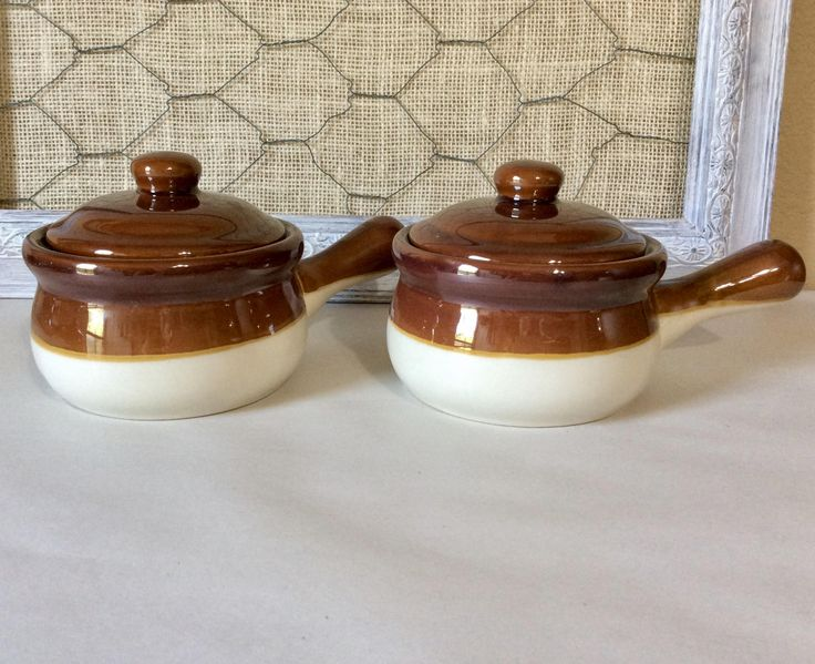 Vintage Stoneware Crock with Lids, French Onion Soup Bowls, Brown & Cream, Ovenproof Vented Handle Bowl - Individual  Soup Bowl  Set of 2 by CottonTopVintage on Etsy