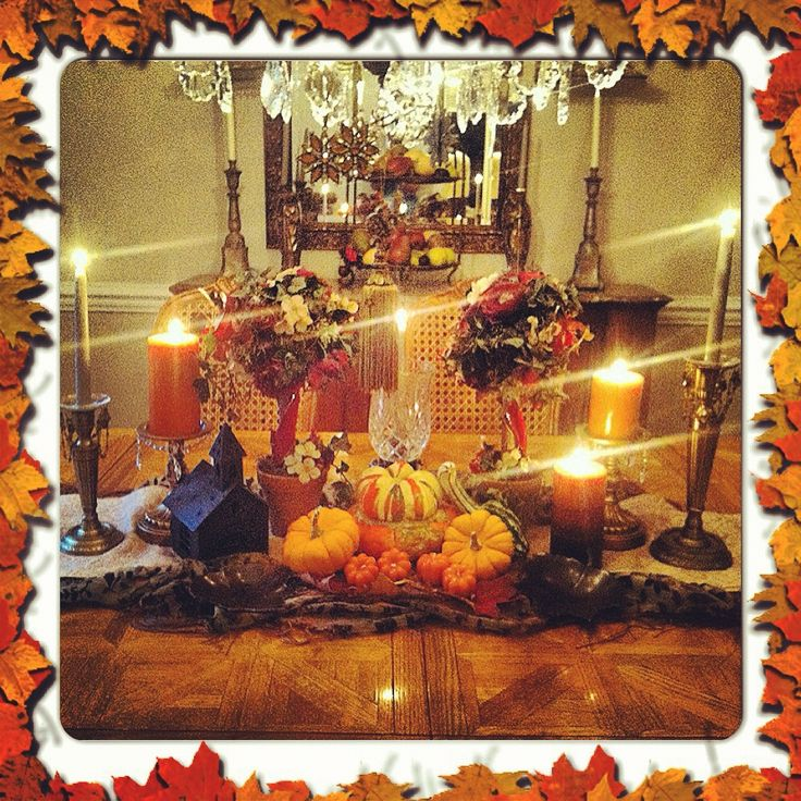 Fall dining room table decor holiday trends pinterest for Dining room table decorating ideas for fall