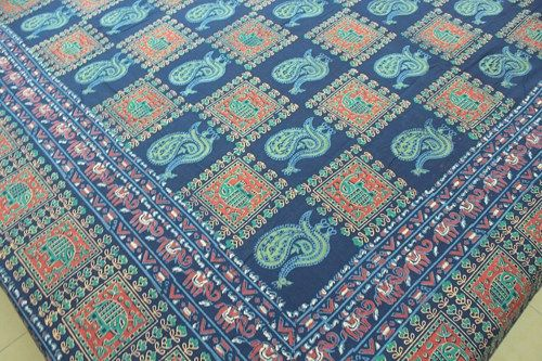 Product Code - RJ20  Product - Hand block printed rajasthani bed sheet / bed cover  Set content - 1 no. King size bed sheet / bed cover    Product Usage - It can be used as a bed sheet, bed cover, tab