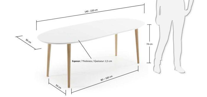 Tafel Uitschuifbaar Wit.Kave Home Oakland Ovale Tafel Uitschuifbaar Wit 220 X 90