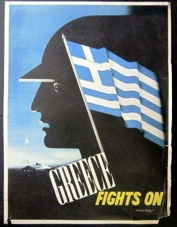 """World War II era """"Greece Fight On"""" poster. Created in 1942 by E. McKnight Kauffer. The print was originated by the Greece Office of Information located in Washington D.C. (Ebay)"""