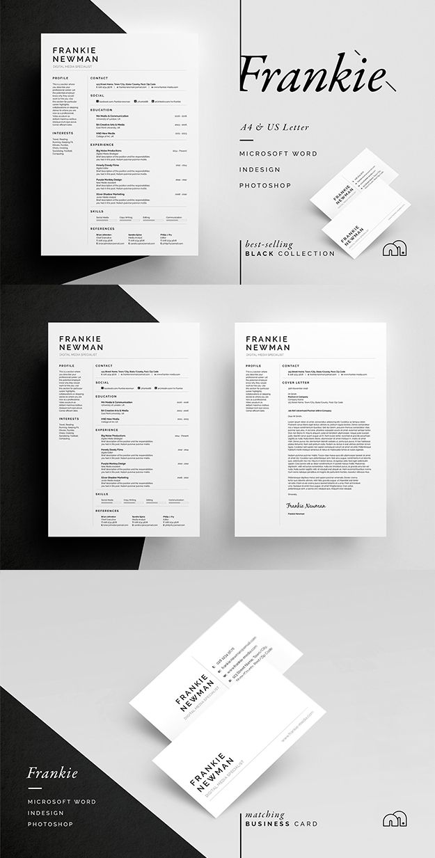 Professional, minimal Resume/CV / Cover letter template with free matching business card design. #resume #cv #template