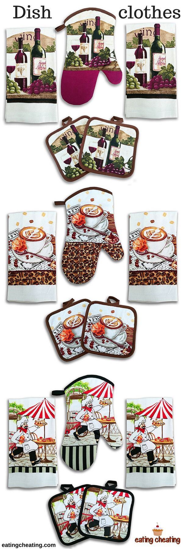 Every cook needs to have dish clothes, absorbent towels and high quality kitchen utensils! This absorbent towels and dish clothes are perfect for your kitchen! You will get 2 kitchen towels, 2 potholders and 1 oven mitt. Besides, coffee design is even more interesting and it gives the smell of morning routine. #kitchen #design #dishcloth #dish
