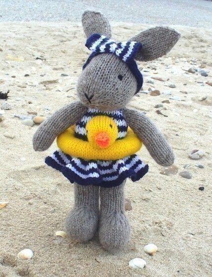 BUNTY BUNNY RABBIT GOES SWIMMING pdf email knitting pattern by debi birkin