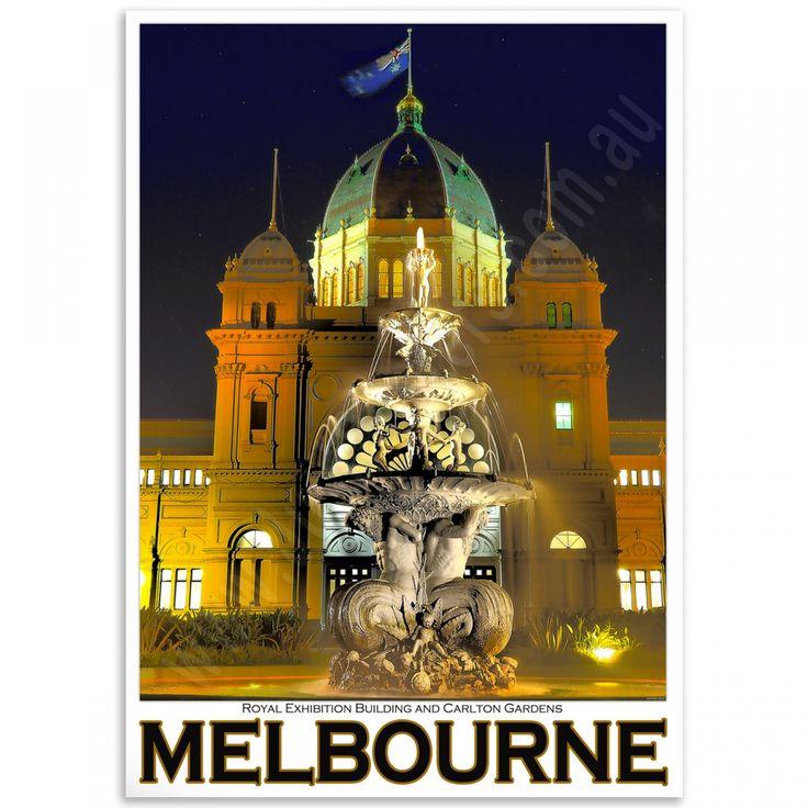 Melbourne Poster - Royal Exhibition Building Fountain