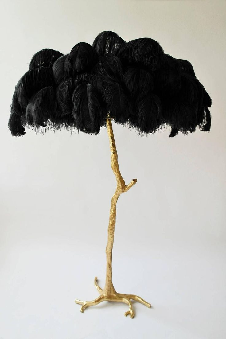 Exquisite Hollywood Regency Sculptural Ostrich Feather Palm Tree Floor Lamp  *Powder Room