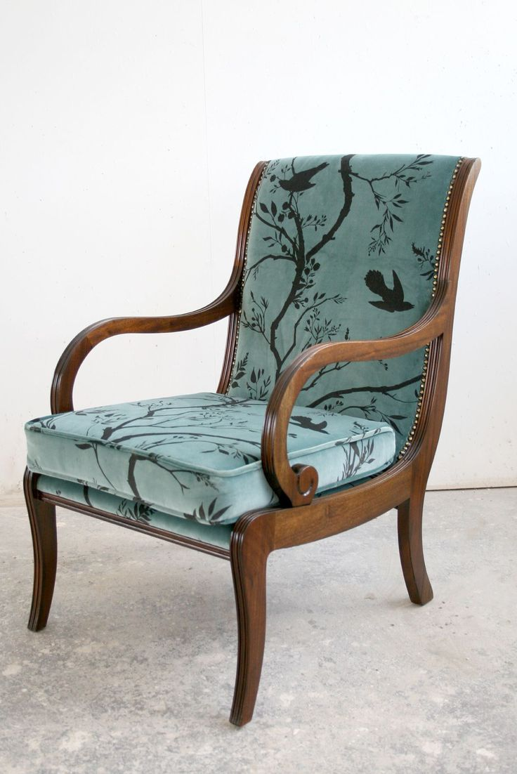 Birdbranch Stripe Sea Blue chair by Timorous Beasties - a company that sources & re-upholsters antique & vintage furniture to create unique pieces. Look at that elegance!