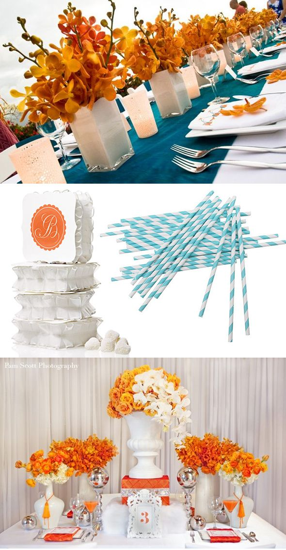 Orange And Aqua: 55 Best Orange And Turquoise Wedding Style Images On