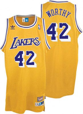 Los Angeles Lakers James Worthy 42 Gold Authentic Jersey Sale