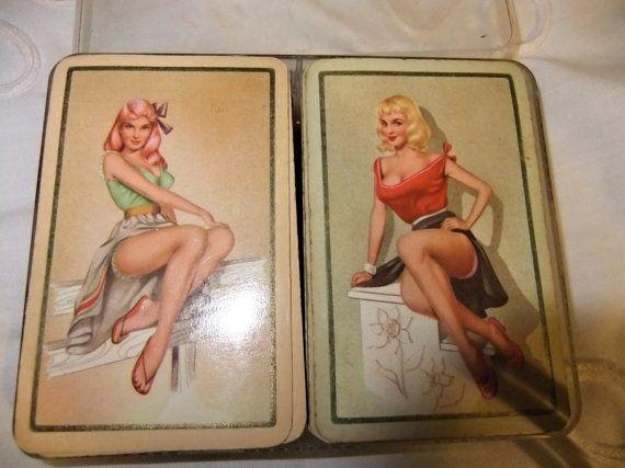 Retro Pin-up Girls Playing Cards Bridge Set Plastic Case Vintage Werma Cards double Set