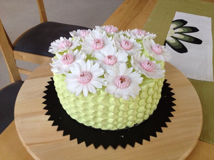 Birthday cake, butter cream  and sugar paste flowers.