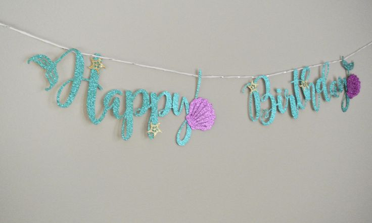 Mermaid Birthday Decor. Handcrafted. Under the Sea. Mermaid Party Decorations by Paper Rabbit. Mermaid Birthday Banner. by PaperRabbit87 on Etsy