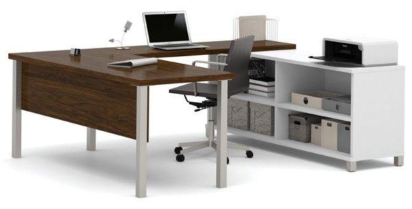 Bestar - Pro-Linea White & Oak Barrel U-Desk - 120881-30
