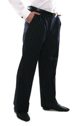 Men's dark blue tango pants with regular white stripes  #tangopants #menstangopants #menstangoclothes #argentinetango