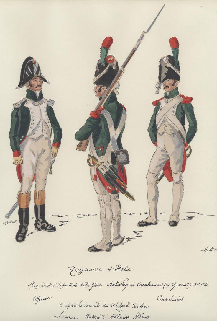 Ufficiale e carabinieri della fanteria leggera della guardia reale