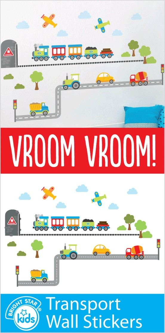 Vroom Vroom! Your kids will delight in this awesome Transport Wall Stickers kit! For only $49.95 you can purchase it online here: http://www.brightstarkids.com.au/Transport-Wall-Stickers.aspx?p1069#.UYBm78r7DCY #wallstickers #transport #boys