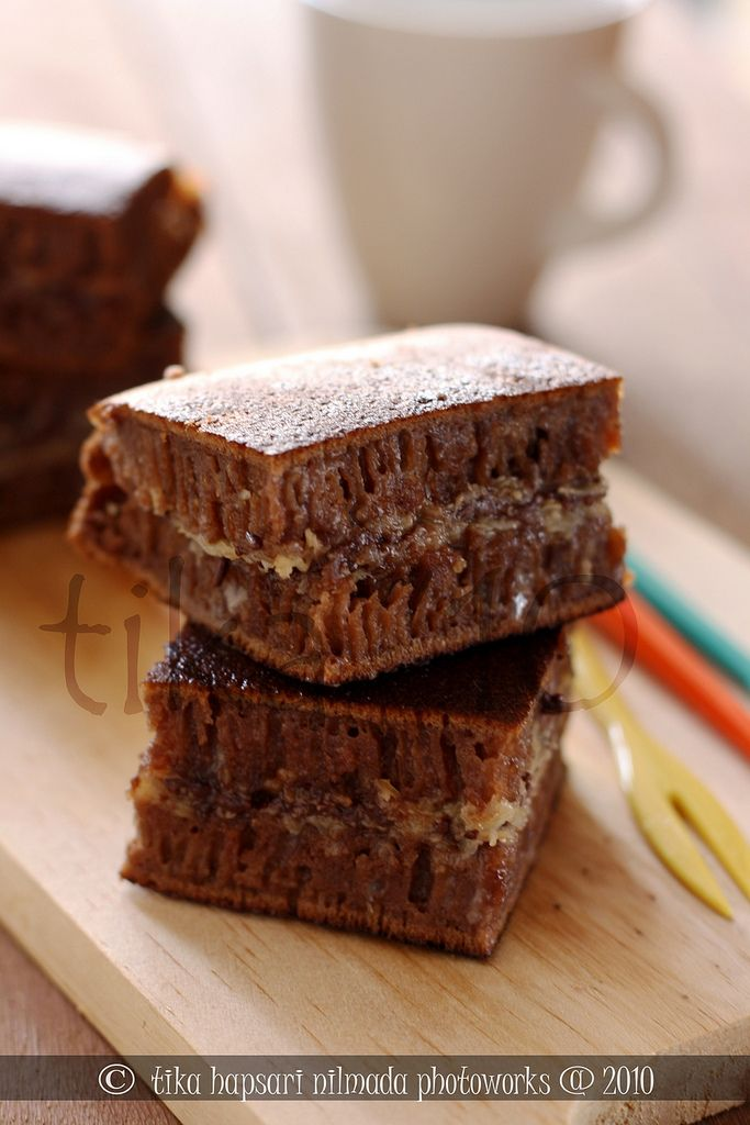 Martabak Brownies, a modification of sweet martabak. Chocolate was added to the batter and makes the chocolatey thick pancake.