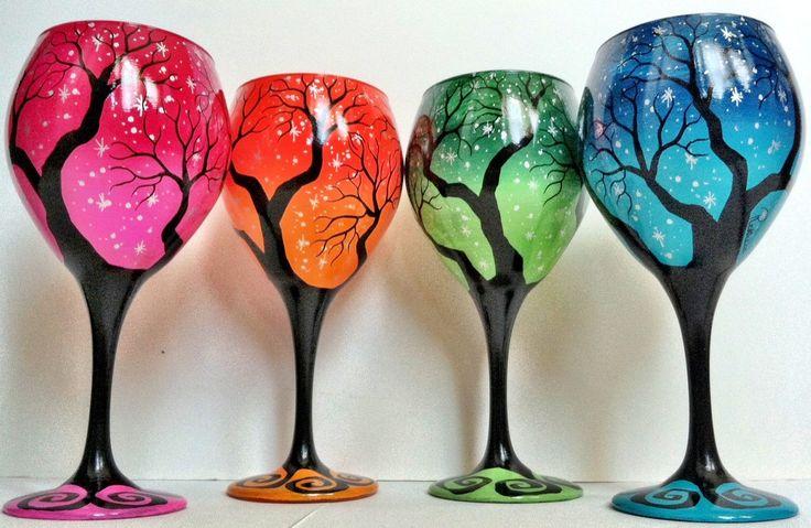Set of 4 Tree Wine Glasses. $115.00, via Etsy NEED