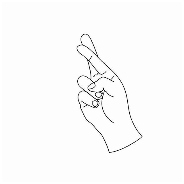 Karina Isabelle sur Instagram. Crossed fingers. Simple drawing.