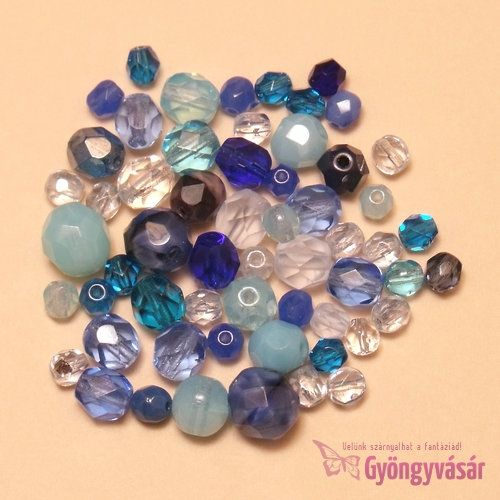 Kék vegyes cseh csiszolt gyöngy (10 g) • Gyöngyvásár.hu