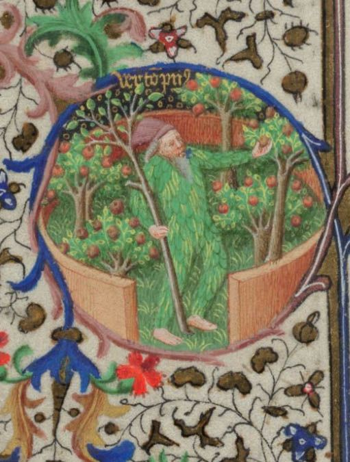 British Library, Add MS 18850, detail of f. 9v. Book of Hours of the use of Paris, known as the 'Bedford Hours'. Paris, early 15th century.