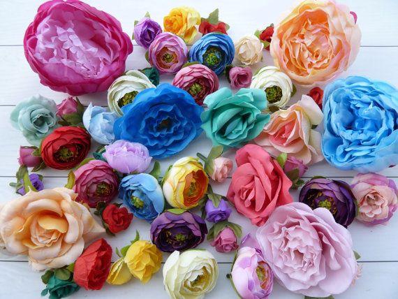 Set 46pcs  flowers for holiday decorhair от VitasjaCrochet на Etsy