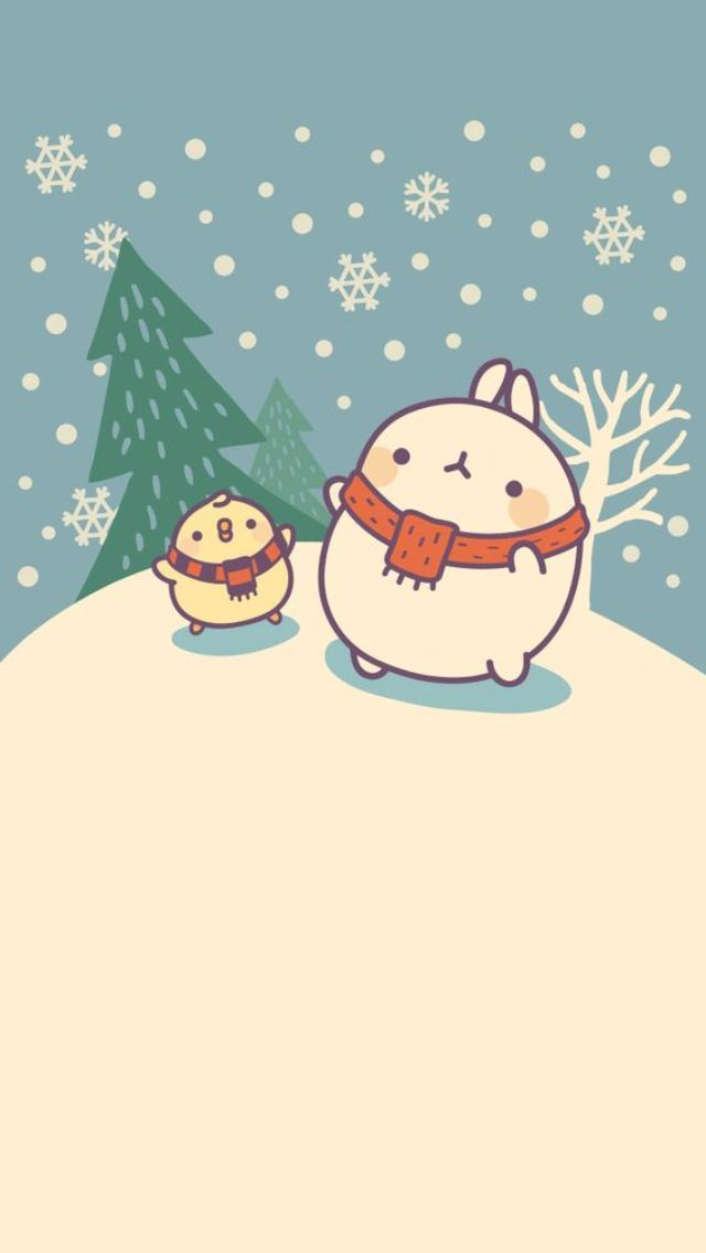 Molang Christmas - Tap to see more cute Christmas wallpapers! | @mobile9