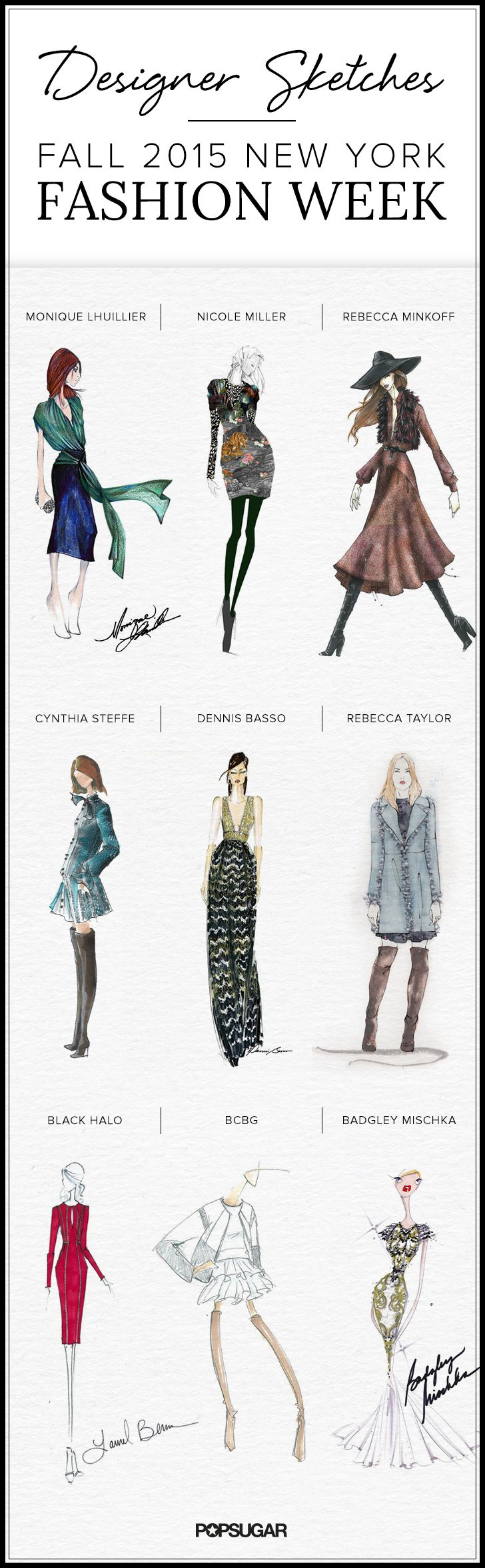 Amazing sketches to preview all the looks coming down the runway at New York Fashion Week!