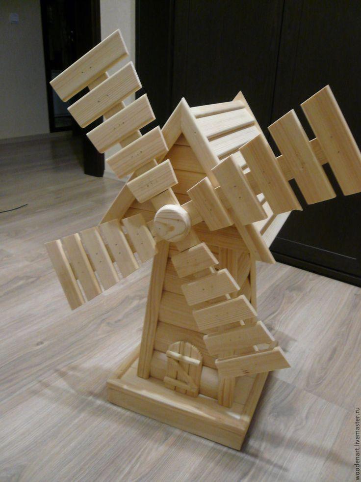 Купить Декоративная мельница мини 64 см - декоративная мельница, изделия из дерева, для сада