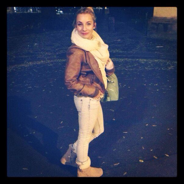 Winter outfit  #bershka jacket and jeans #h&m scarf #prada bag #aldo shoes