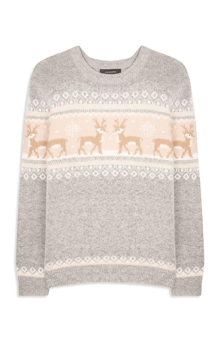 Primark - Grey Fairisle Reindeer Jumper