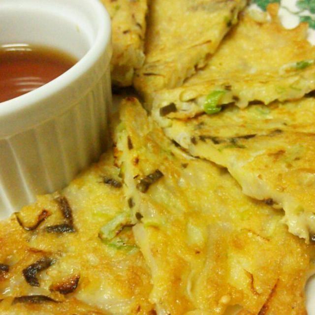 SnapDishに投稿されたKana Kimuraさんの料理「余った蕎麦de 蕎麦チヂミ」です。「食べきれなかった蕎麦 蕎麦湯も無駄なくね」余った 蕎麦湯