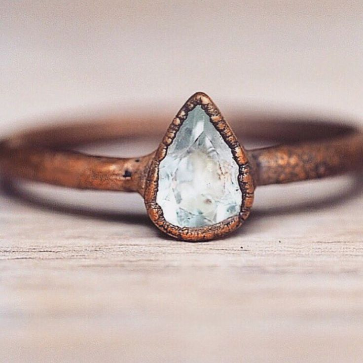 New in || Our Aquamarine Droplet and Copper Rings || Part of our 'Earthly Treasures' Collection || www.indieandharper.com