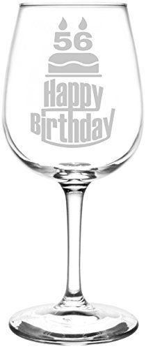 56th | Three Tier Happy Birthday Cake Decoration Inspired - Laser Engraved Libbey All-Purpose Wine Glass.  Fast Free Shipping & 100% Satisfaction Guaranteed.  The Perfect Gift!