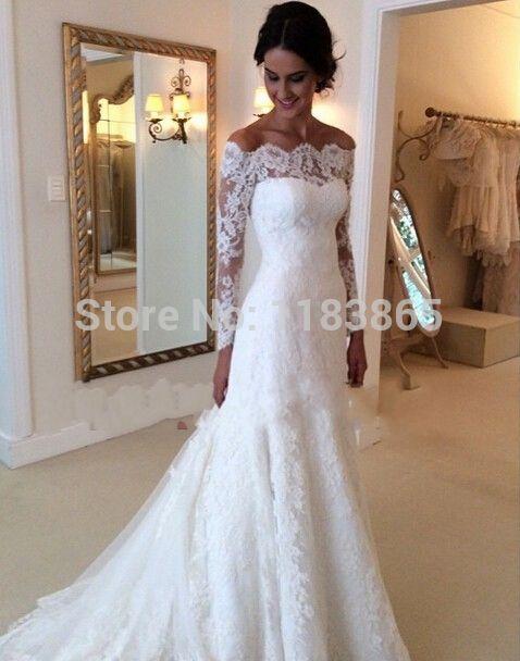 lace wedding dress mermaid vestido de noiva 2015 long sleeve white com manga longo renda Vintage dress bride vestido noiva FF201
