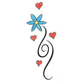 Simple Flower With Hearts Tattoo Design - TattooWoo.com