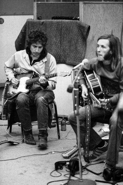 Singer songwriter Bob Dylan and Texas musician Doug Sahm recording Doug Sahm's 1973 album 'Doug Sahm and Band' in the studios of Atlantic Records on...