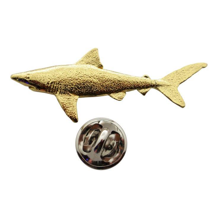 Dusky Shark Pin ~ 24K Gold ~ Lapel Pin